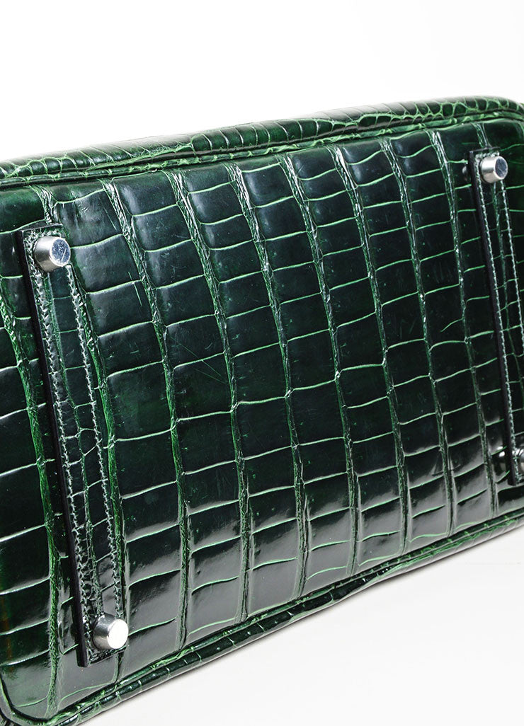 "Dark Green Hermes Crocodile Porosus Shiny Leather ""35cm Birkin"" Bag Bottom View"