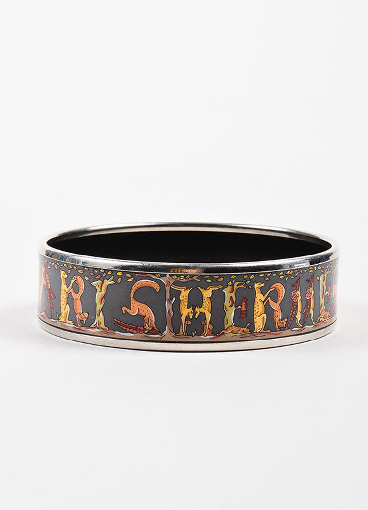 Hermes Grey and Multicolor Enamel and Palladium Plated Animal 'Hermes' Print Bangle Frontview 2