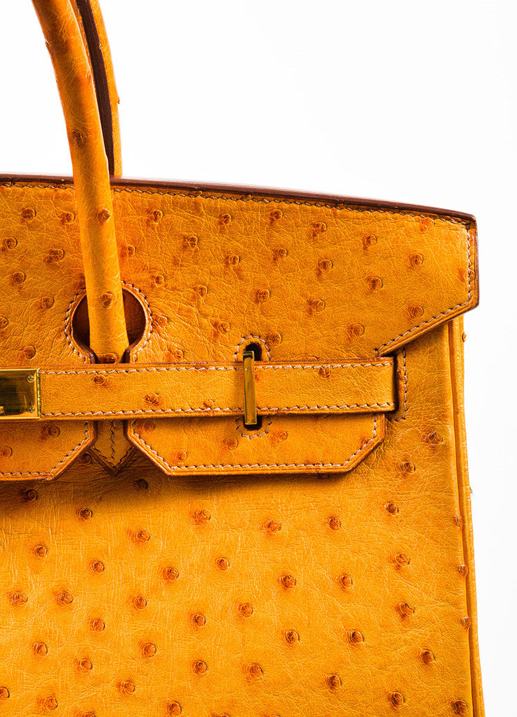 "Hermes 'Saffron' Orange Tan Ostrich Leather 35cm ""Birkin"" Handbag Detail 3"