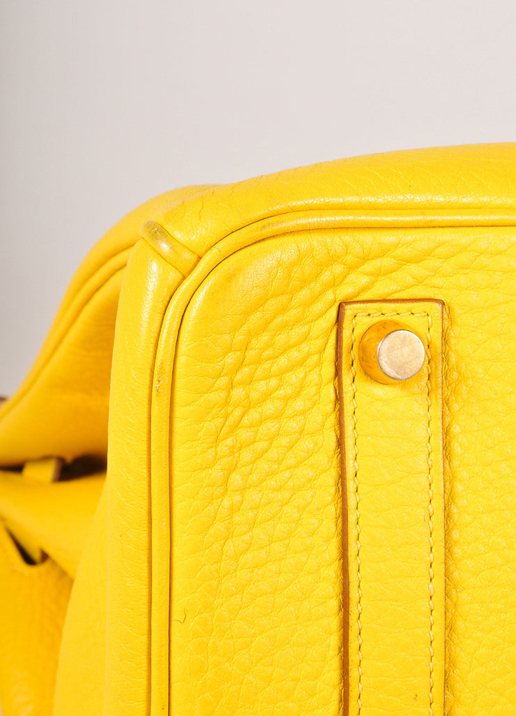 Hermes Yellow and Gold Toned Pebbled Togo Leather 35cm Birkin Bag Detail