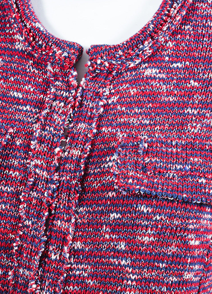 Isabel Marant Etoile Red, Navy, and White Knit Four Pocket Jacket Detail