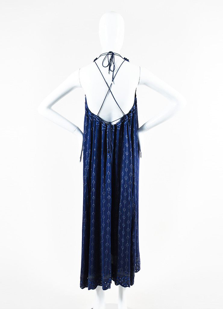Isabel Marant Navy and Grey Printed Halter Maxi Dress Backview