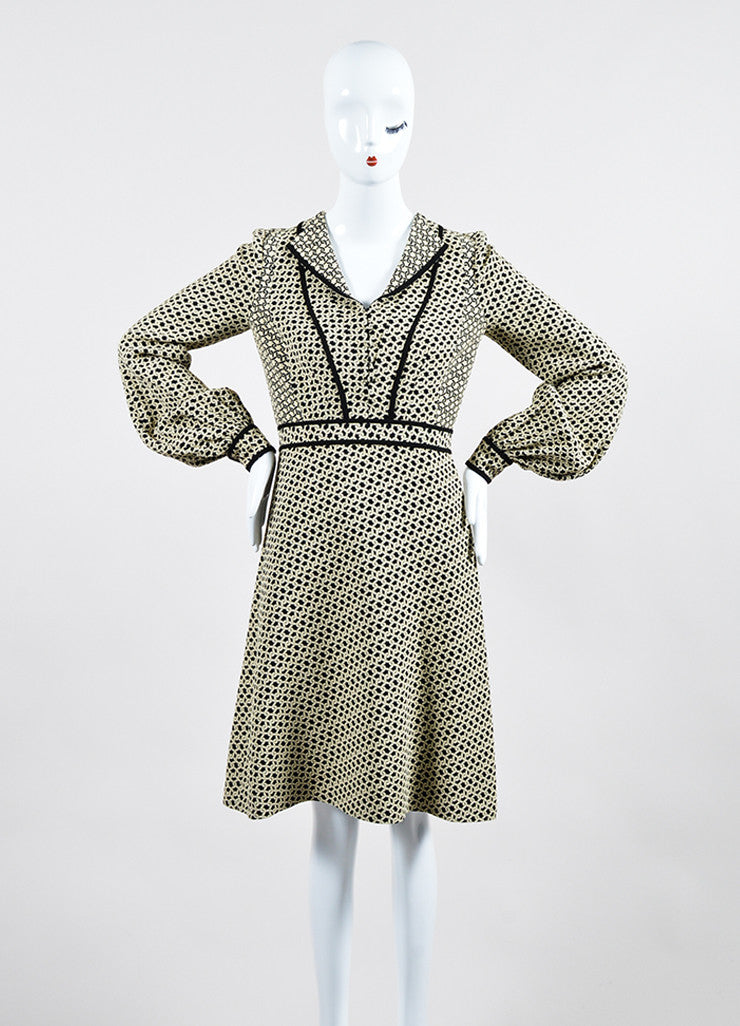 Cream and Black J. Mendel Knot Jacquard Long Sleeve Shirt Dress with Scarf Frontview 2