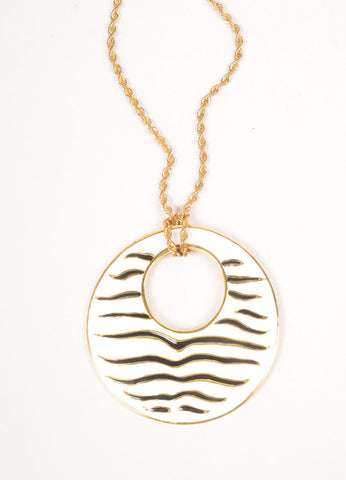 Kenneth Lane Gold Toned, White, and Black Enamel Zebra Striped Disc Pendant Necklace Detail