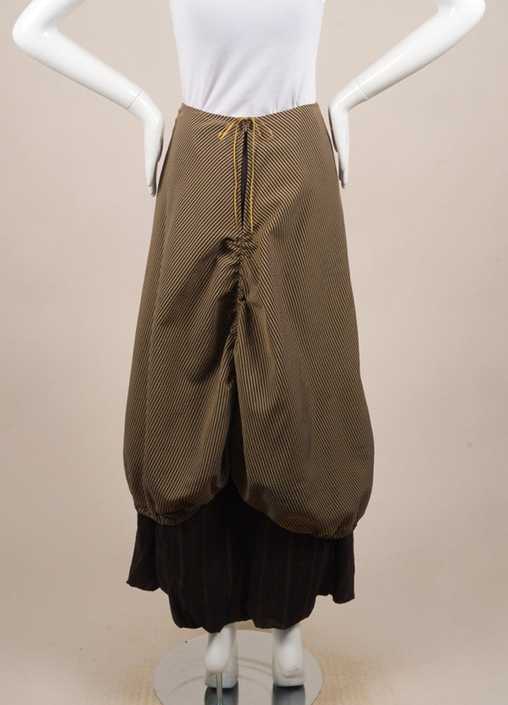 Kenzo Brown and Beige Textured Knit Contrast Stripe Layered Bubble Maxi Skirt Backview