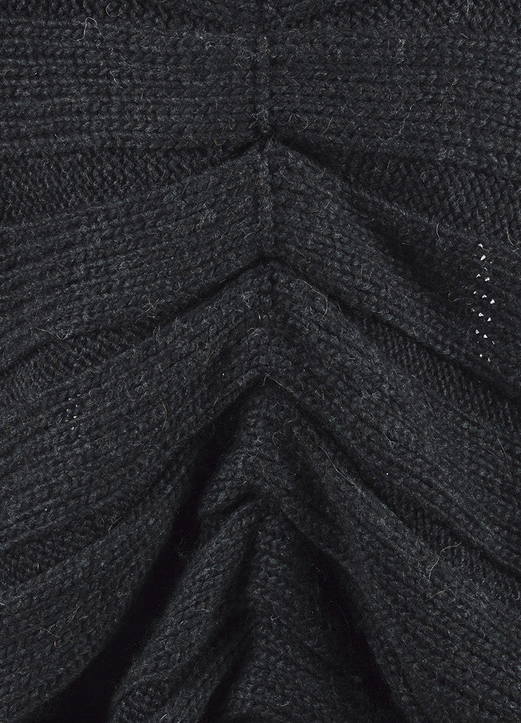 Charcoal Grey Lanvin Woolen Woven Chunky Knit Cocoon Sweater Cardigan Detail