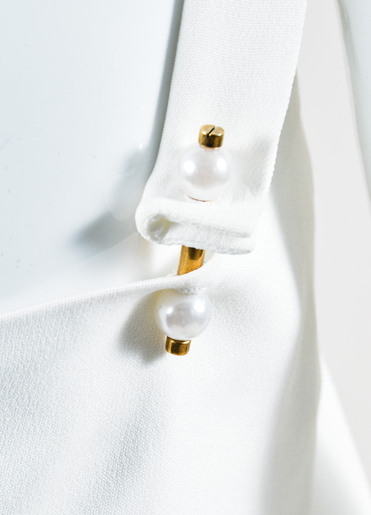 White Lanvin Crepe Pearl Detail Sleeveless Boxy Top Detail