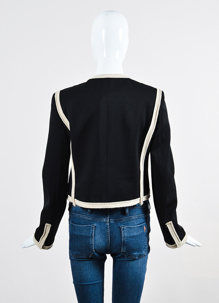 Black and Beige Lanvin Wool Braided Trim Collarless Cropped Jacket Backview