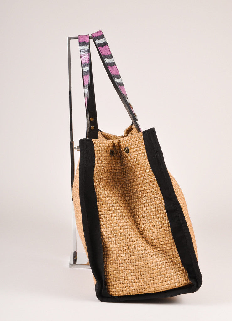 Lanvin Tan, Black, and Magenta Leather Straw Woven Tote Bag Sideview