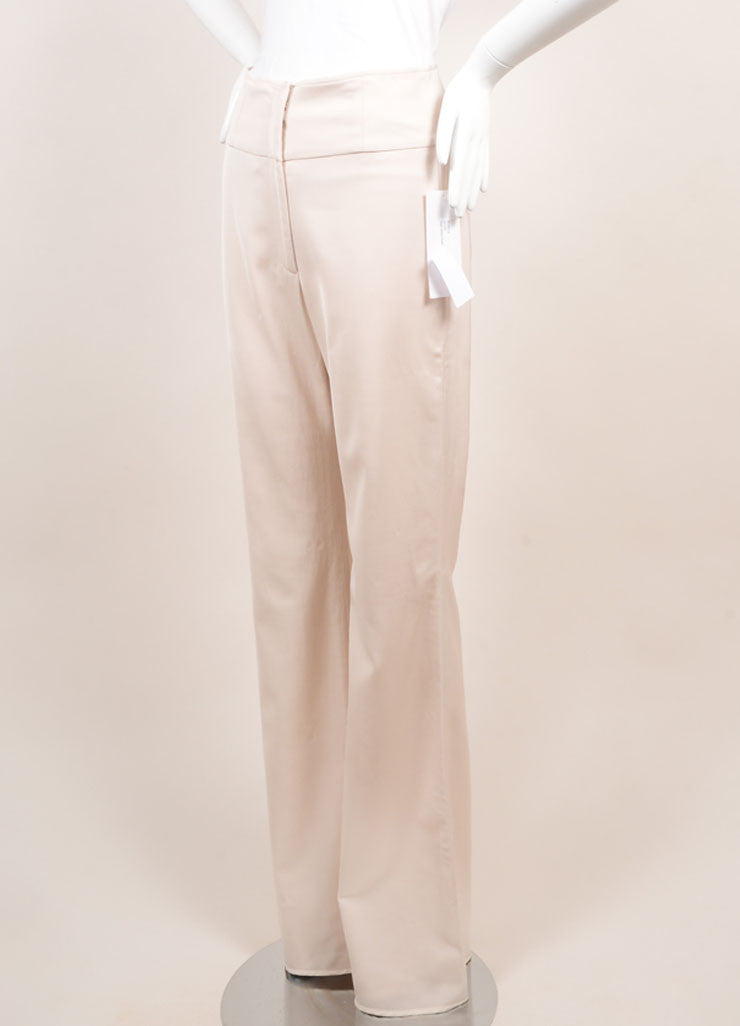 Lela Rose New With Tags Blush Wool Blend High Waisted Wide Leg Trousers Sideview
