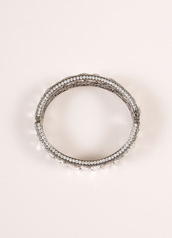 Lorraine Schwartz Diamond and White Sapphire Encrusted Hinged Bracelet Topview