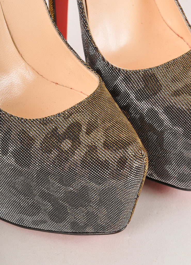 "Christian Louboutin Silver and Gold Metallic Leopard Print ""Daffodile"" Pumps Detail"