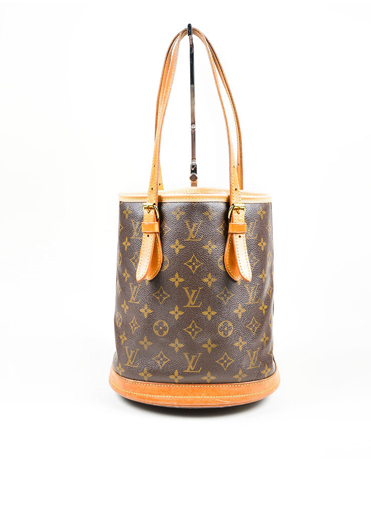 "Louis Vuitton Brown Coated Canvas ""Petite Bucket"" Bag Front"