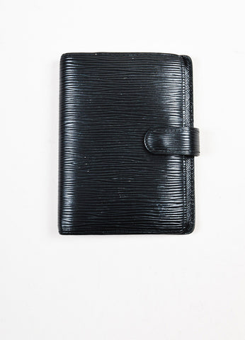 "Louis Vuitton Black Epi Leather Snap Button ""Small Agenda Cover"" Planner Book Frontview"