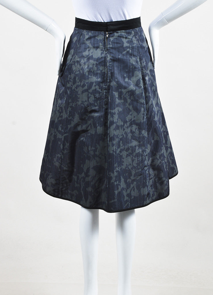 Louis Vuitton Dark Green Black Silk Print Full A-Line Skirt backview