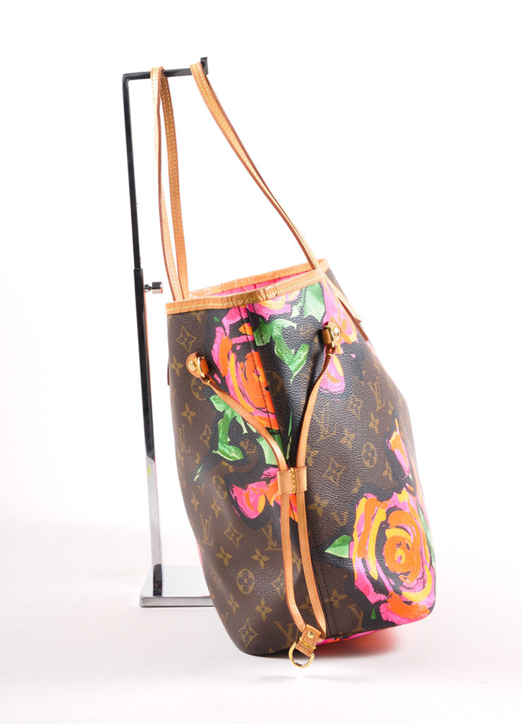 "Louis Vuitton x Stephen Sprouse Brown and Pink Monogram Canvas Roses ""Neverfull"" Tote Bag Sideview"