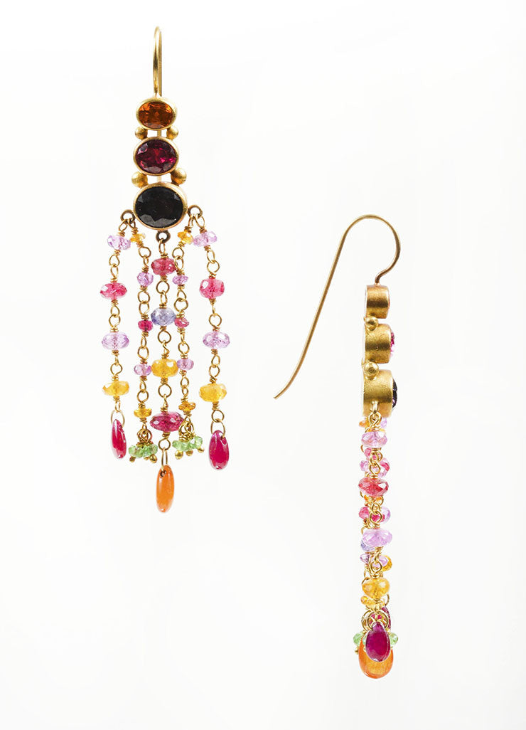 22K and 18K Yellow Gold and Multicolor Gemstone Mallary Marks Chandelier Earrings Sideview