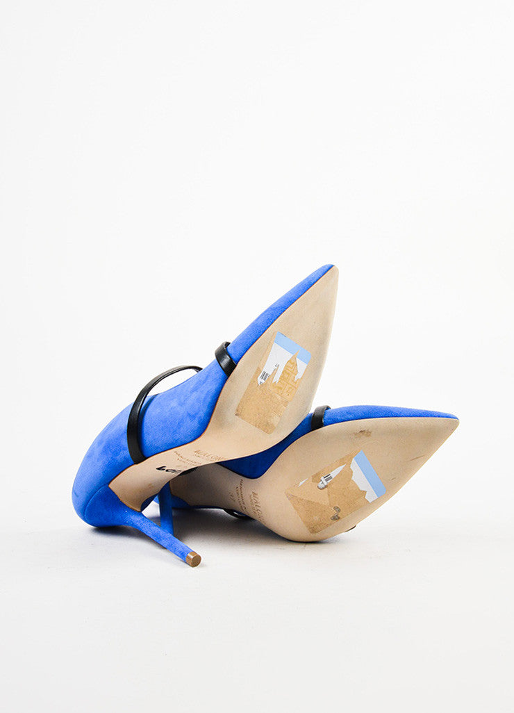 Royal Blue Malone Souliers Suede Leather Strap Pumps Sole