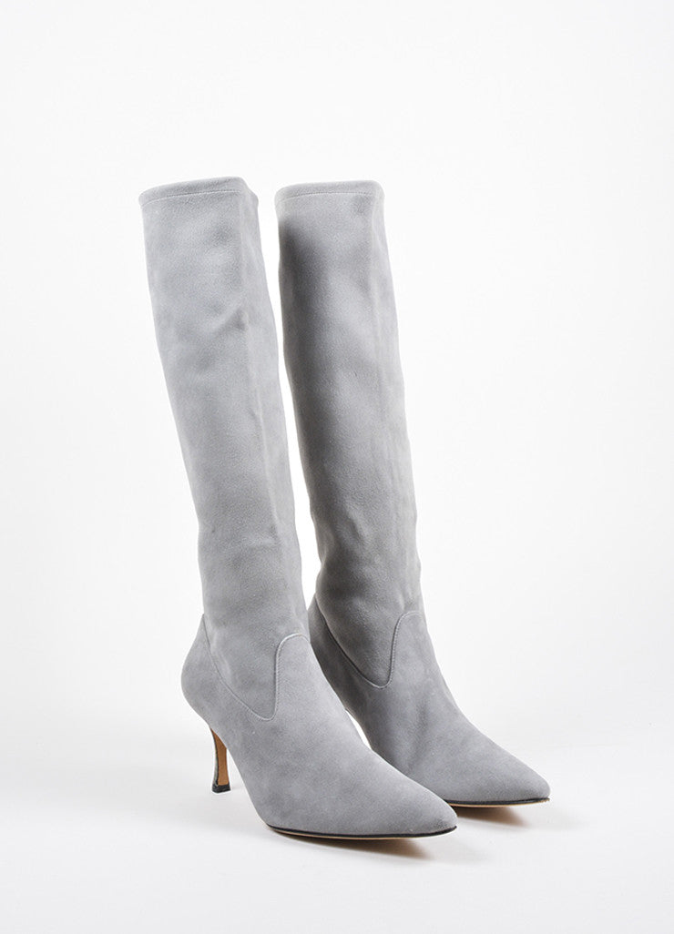 Manolo Blahnik Grey Suede Pointed Toe Heeled Knee High Boots Frontview