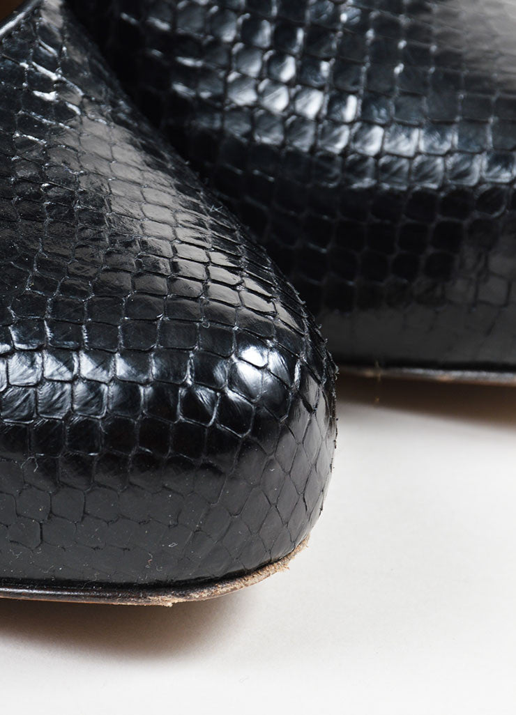 Black Marni Python Leather Mary Jane Chunky Heels Detail