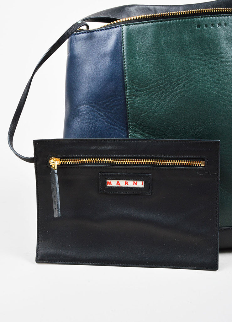 "Navy, Green, and Black Marni Lamb Leather Colorblock Hobo ""Pod"" Bag Pouch"
