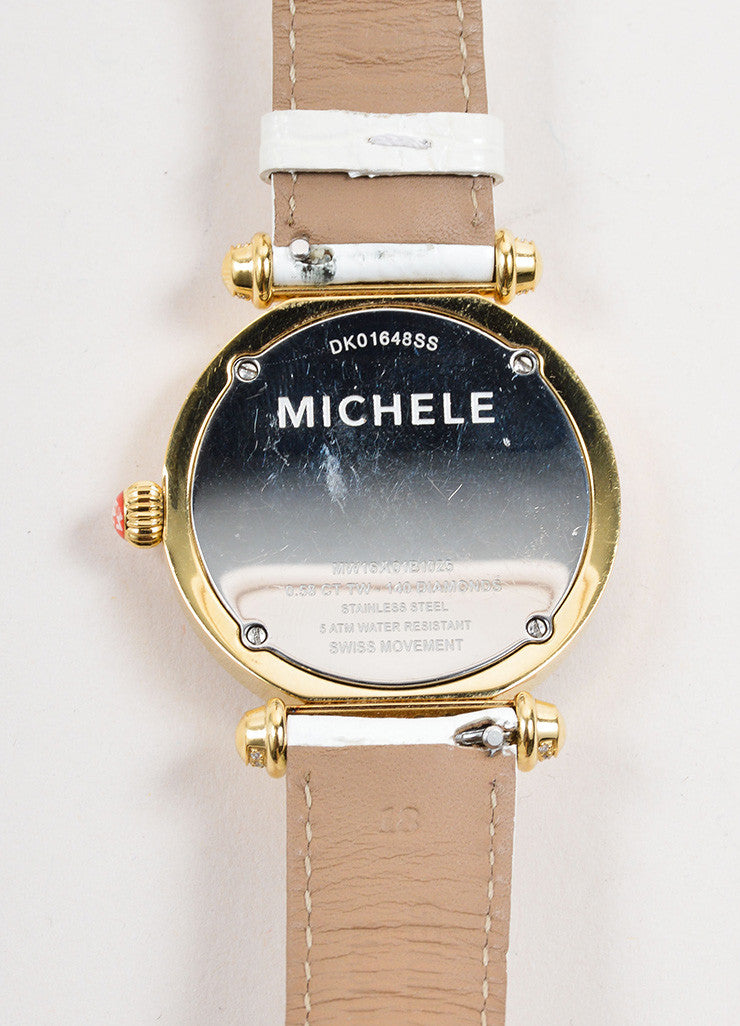 "Michele Gold Toned and Diamond White Alligator Leather Band ""Caber"" Watch Brand"