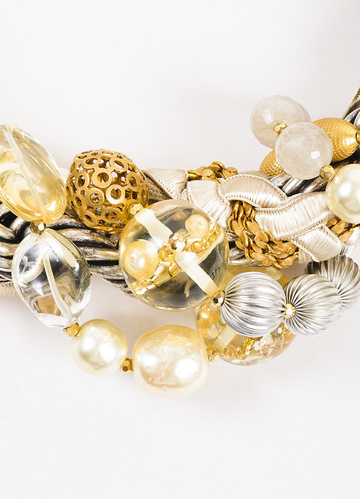 Miriam Haskell Silver and Gold Toned Cord Faux Pearl Crystal Bead Statement Necklace Detail