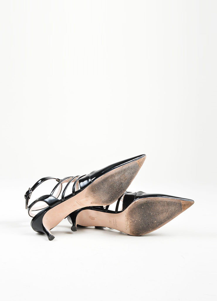 Black Miu Miu Patent Leather Caged Pointed Toe Kitten Heels Outsoles