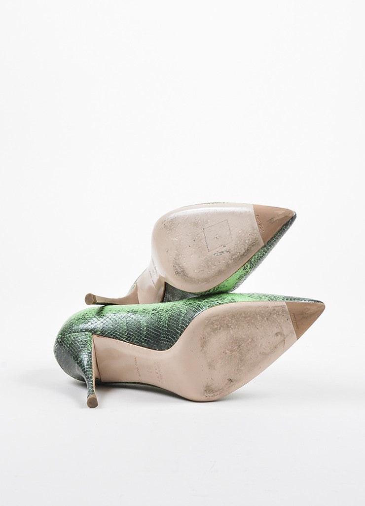 Miu Miu Green and Black Leather Embossed Snakeskin Printed Pointed Toe Pumps Outsoles