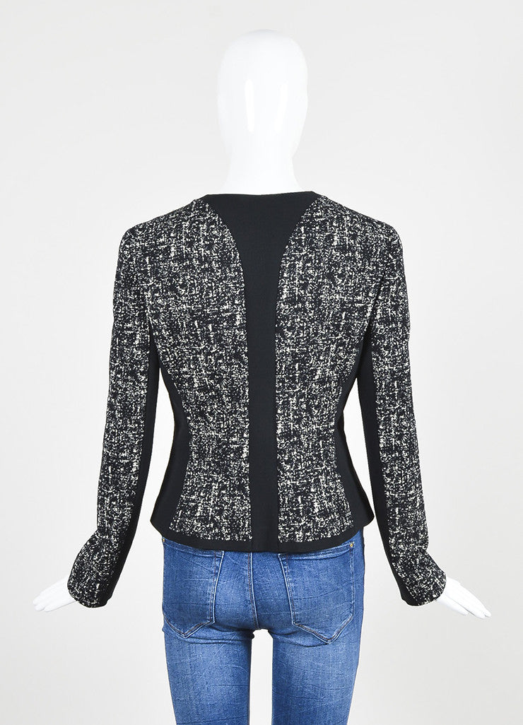 Narciso Rodriguez Black and White Tweed Stretch Scuba Combo Jacket Backview