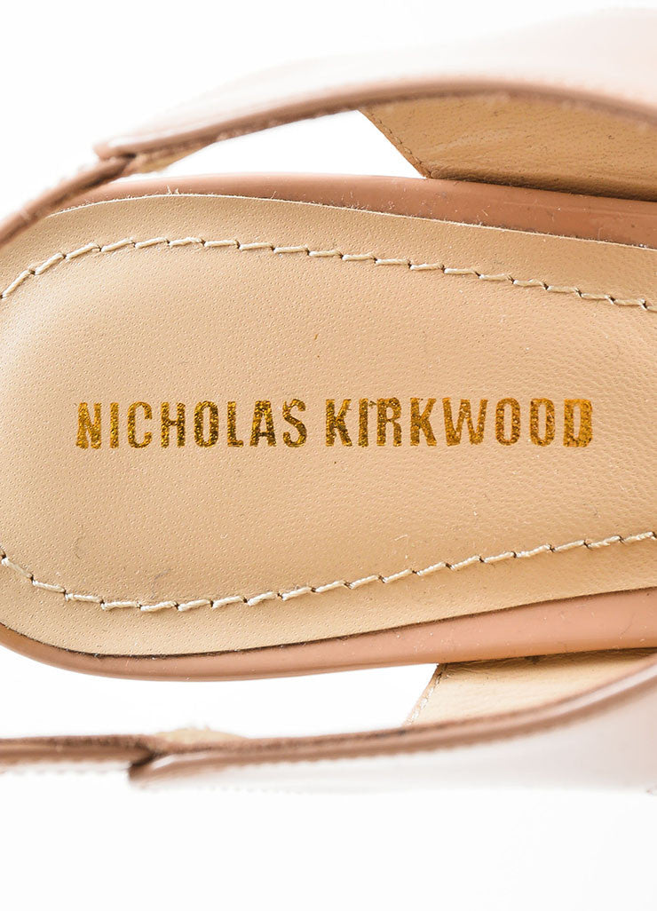 "Nude Nicholas Kirkwood Patent Leather ""Leda"" Cut Out Pumps Brand"