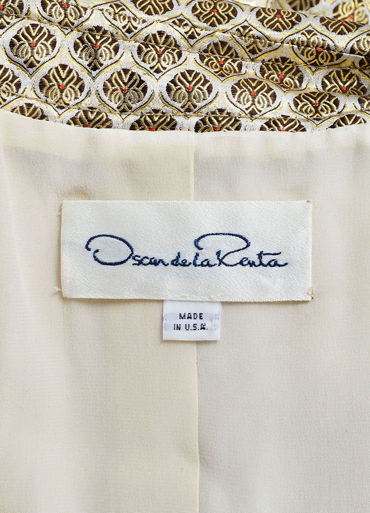 Oscar de la Renta Beige and Gold Silk Brocade Belted Double Breasted Trench Coat Brand