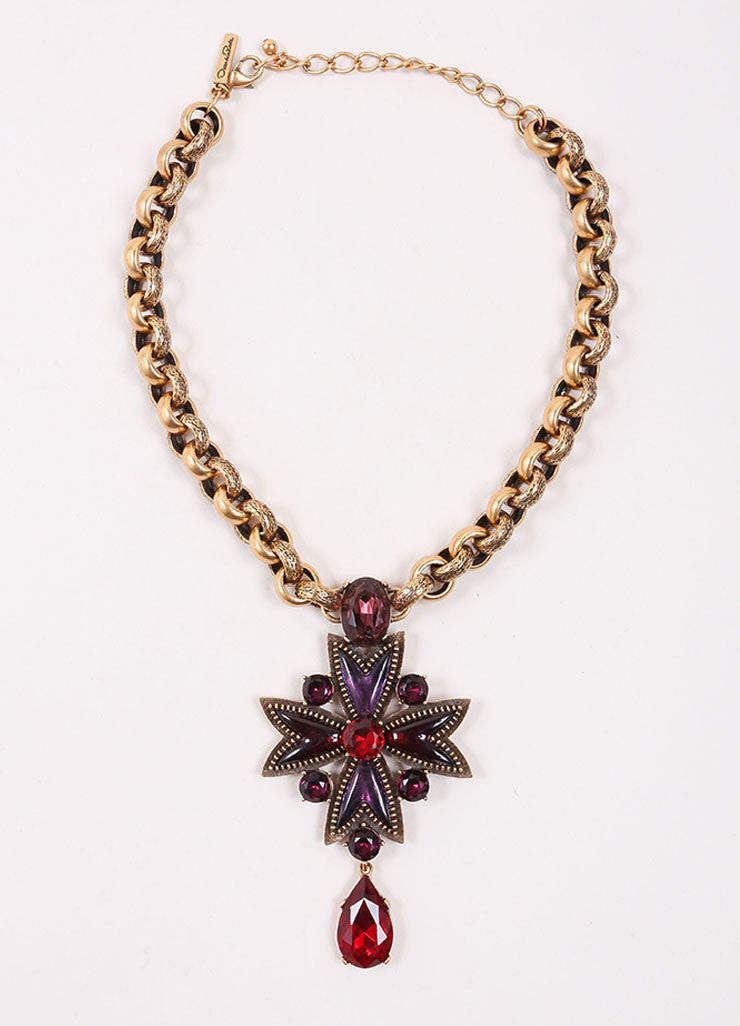 Oscar de la Renta Purple and Red Stone Pendant Gold Toned Chain Necklace Frontview
