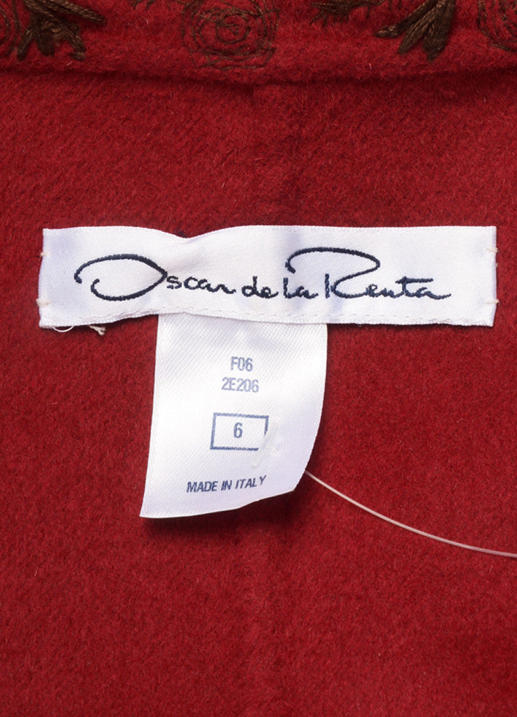 Oscar de la Renta Red and Brown Wool, Angora, and Cashmere Embroidered Zip Jacket Brand