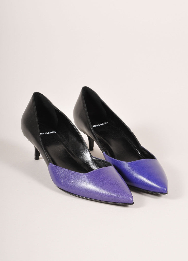 Pierre Hardy New In Box Blue and Black Leather Two Tone Pointed Kitten Heels Frontview