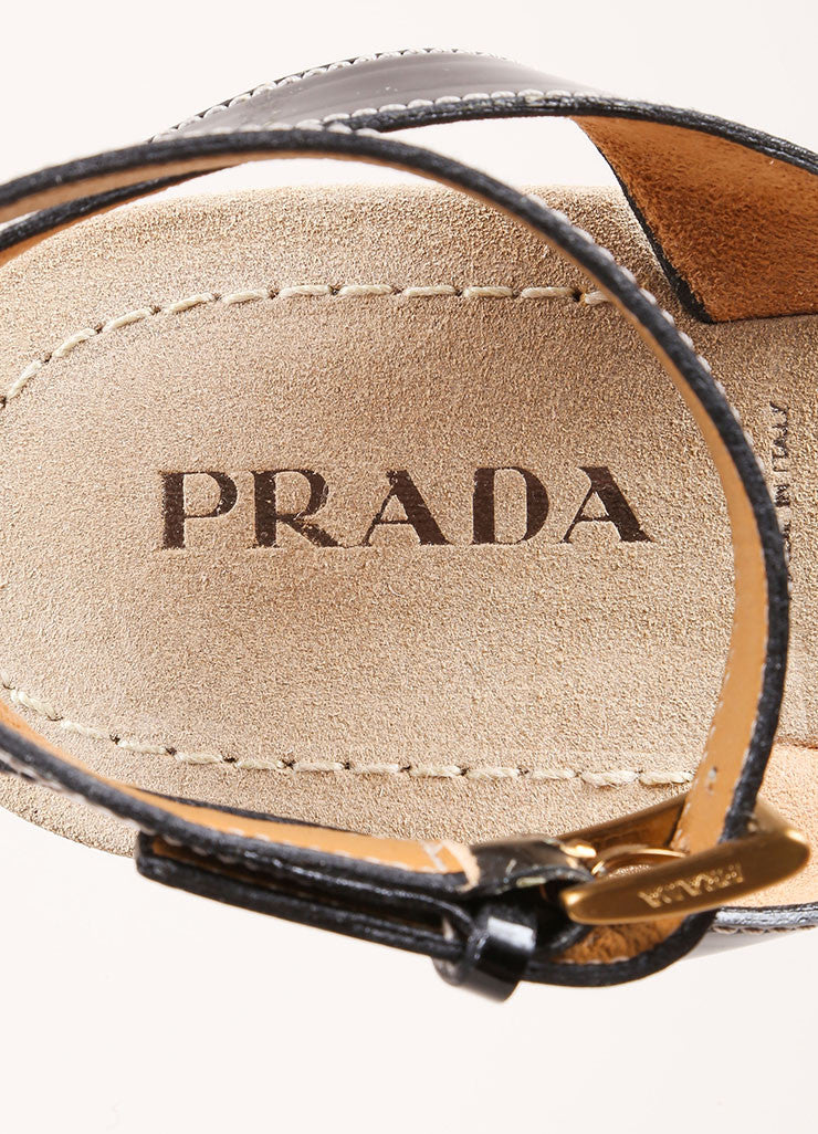 Prada Brown and Multicolor Leather Woven Patent Trim Strappy Flat Sandals Brand