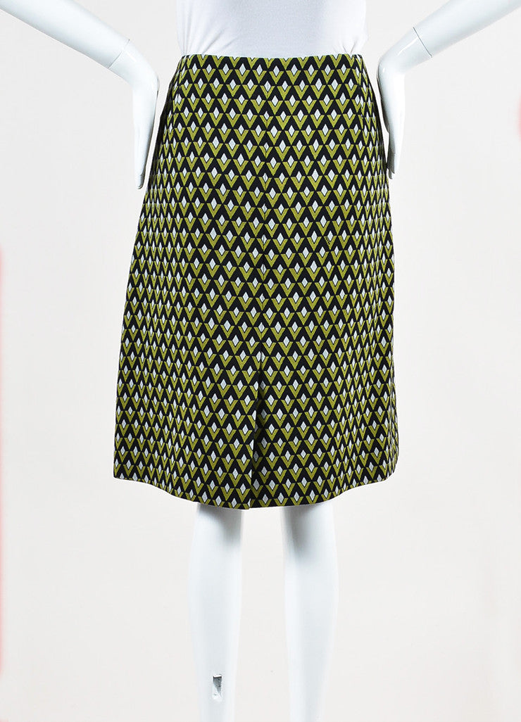 Prada Green and Black Woven Geometric Beaded Wrap A Line Knee Length Skirt Backview