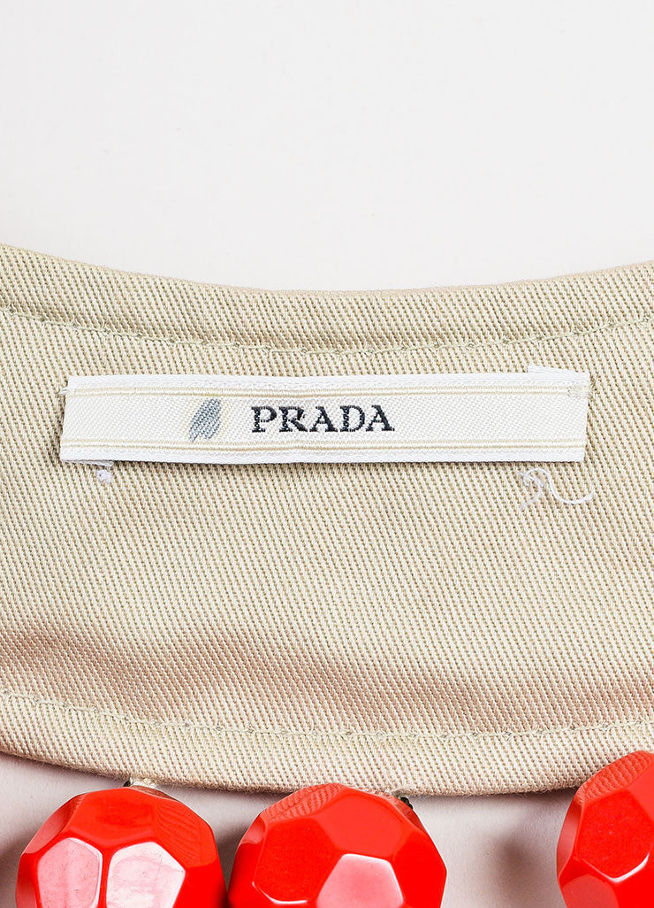 Prada Tan, Red, and Black Faceted Bead Cotton and Silk Tie Statement Bib Necklace Brand