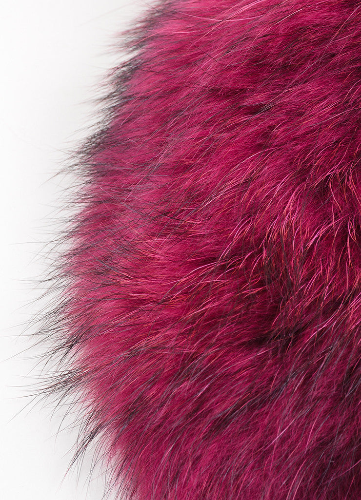 Magenta and Black Red Valentino Fur Tie Collar Detail