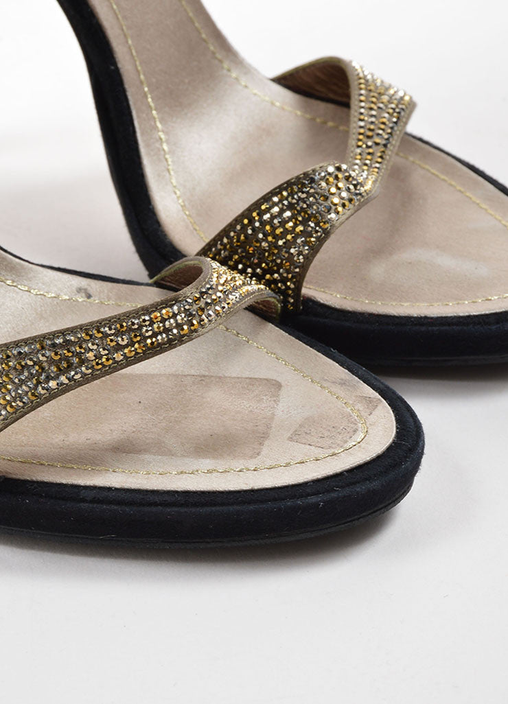 Rene Caovilla Black and Taupe Suede Rhinestone Glitter Sandal Heels Detail