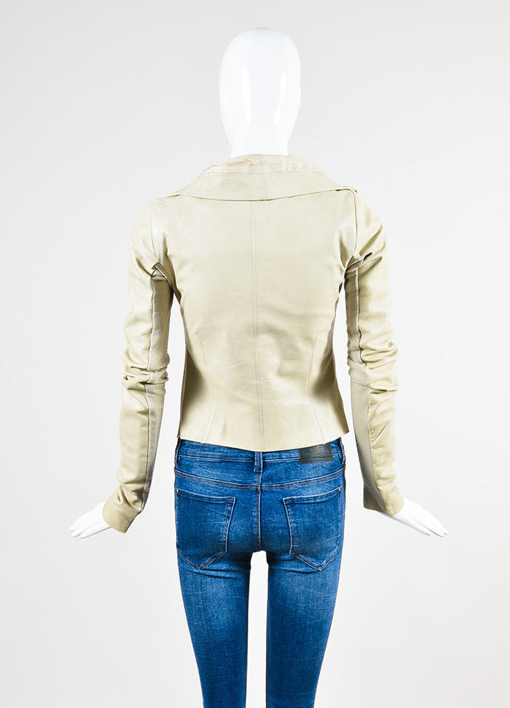 Beige Rick Owens Leather Draped Collar Jacket Backview