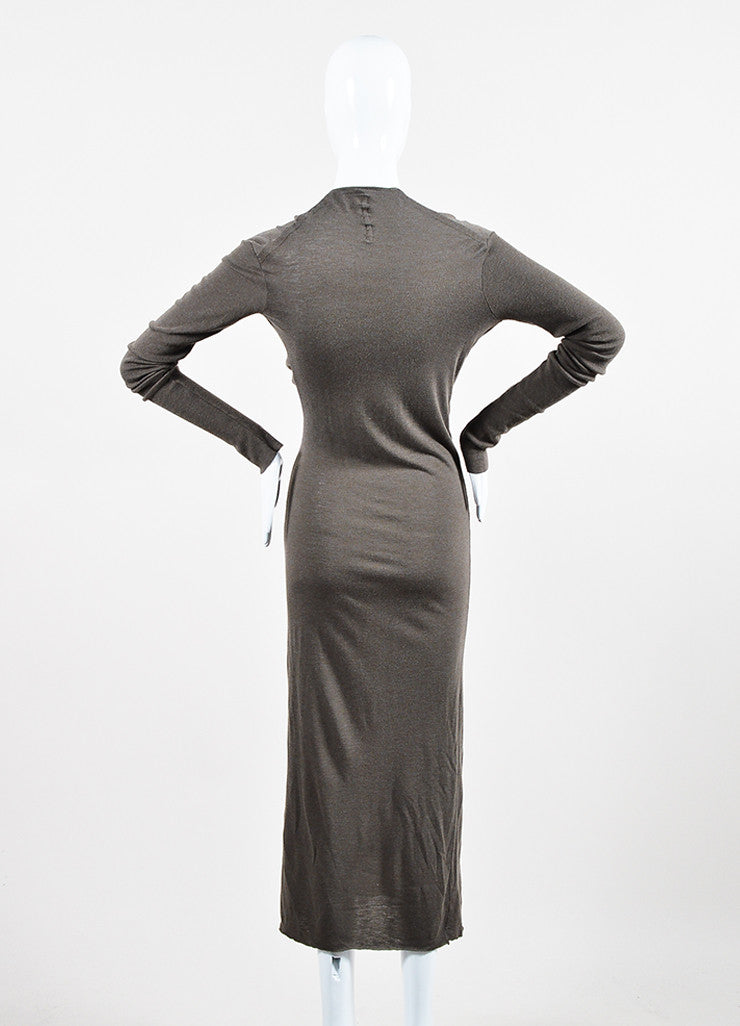 "äó¢íšíóRick Owens Lilies ""DNA Dust"" Taupe Knit Wool Blend Twist Long Sleeve Maxi Dress Backview"