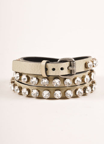 Ronald Pineau New With Tags Grey Leather Rhinestone Studded Skinny Belt Frontview