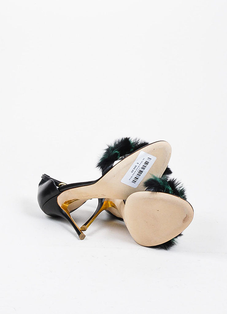 "Black and Green Rupert Sanderson Leather and Fur ""Mikie"" Sandal Heels Outsoles"