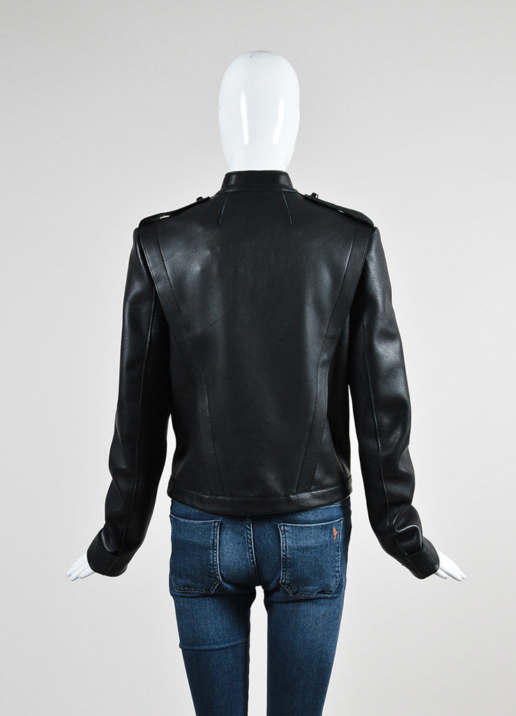 Black Sally Lapointe Leather Asymmetrical Biker Jacket Backview