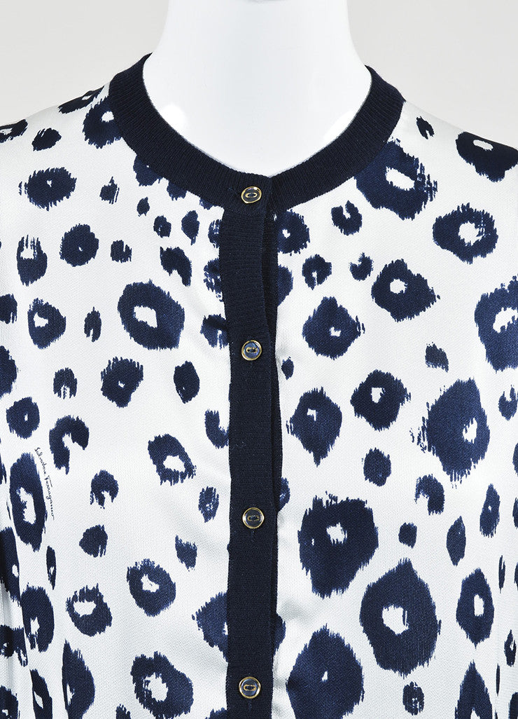 Salvatore Ferragamo Navy Blue and White Wool and Silk Leopard Print Cardigan Detail