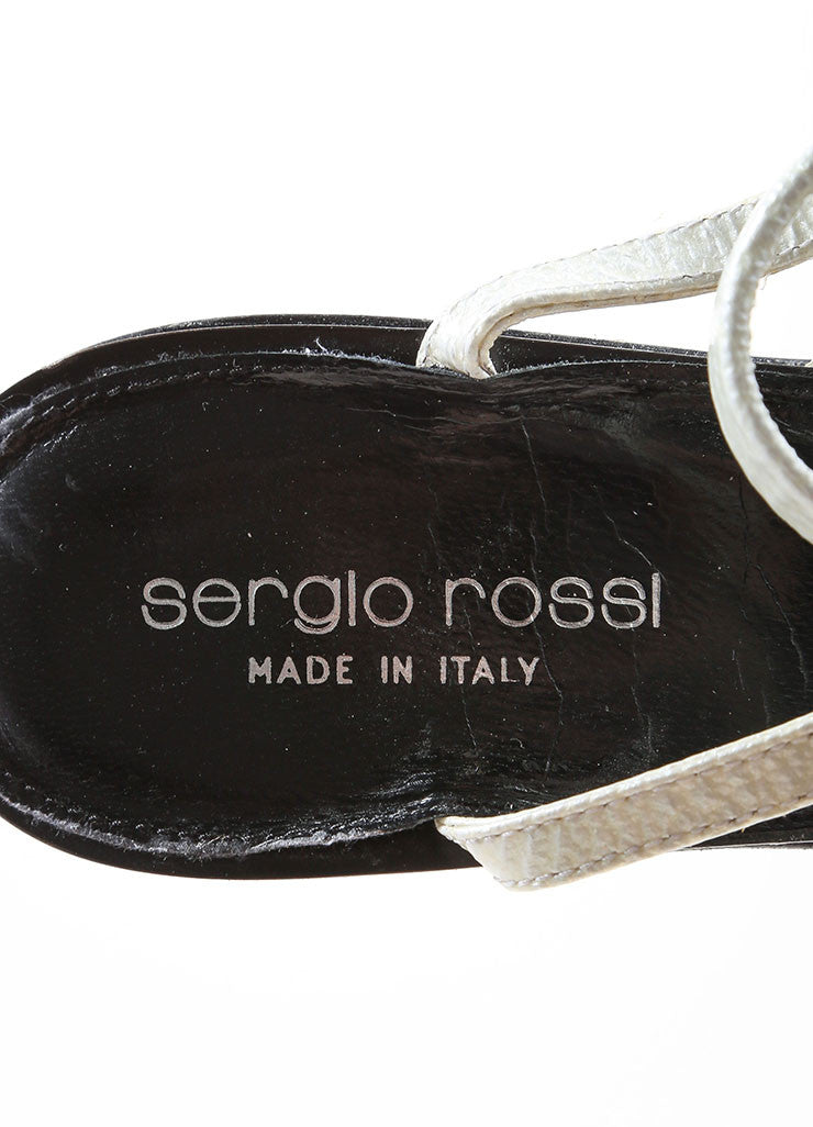Sergio Rossi Black and White Patent Leather Platform Sandal Heels Brand