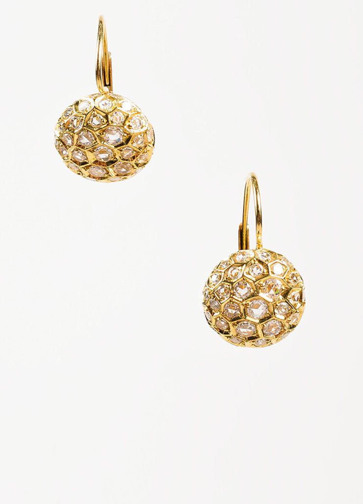 "Sidney Garber 18K Yellow Gold and Diamond ""Honeycomb"" Drop Earrings Frontview"