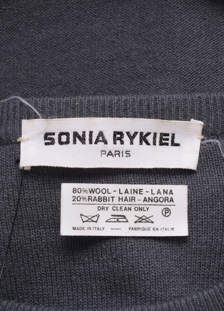 Sonia Rykiel Grey, Black, and White Wool Cape Belted Sweater Brand