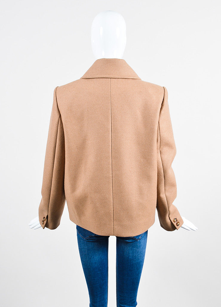 Tan Stella McCartney Camel and Wool Double Breasted Short Peacoat Backview